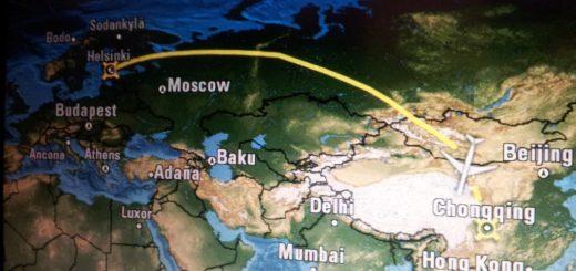 Mapa pokazująca obecną pozycję samolotu w okolicach Chongqing